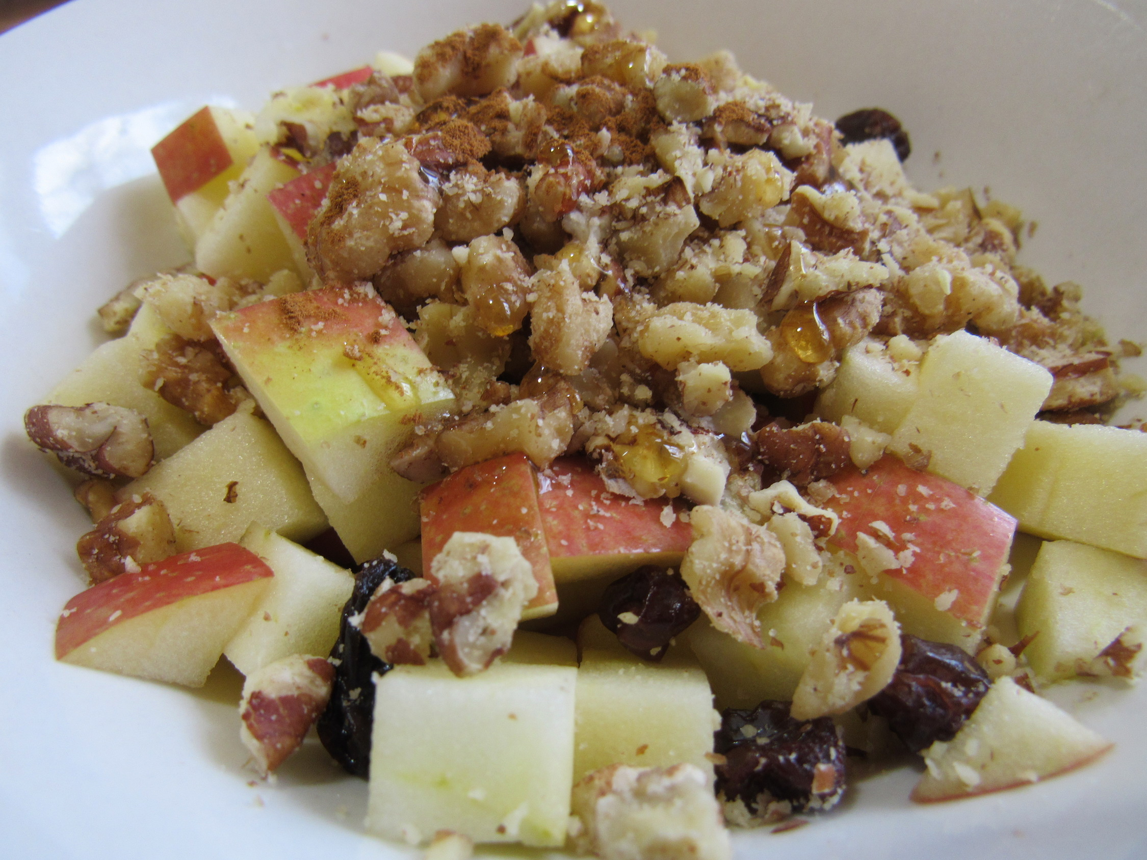 Balanced Bowl: Apple, Crushed Nuts, Raisins, and Nut Butter