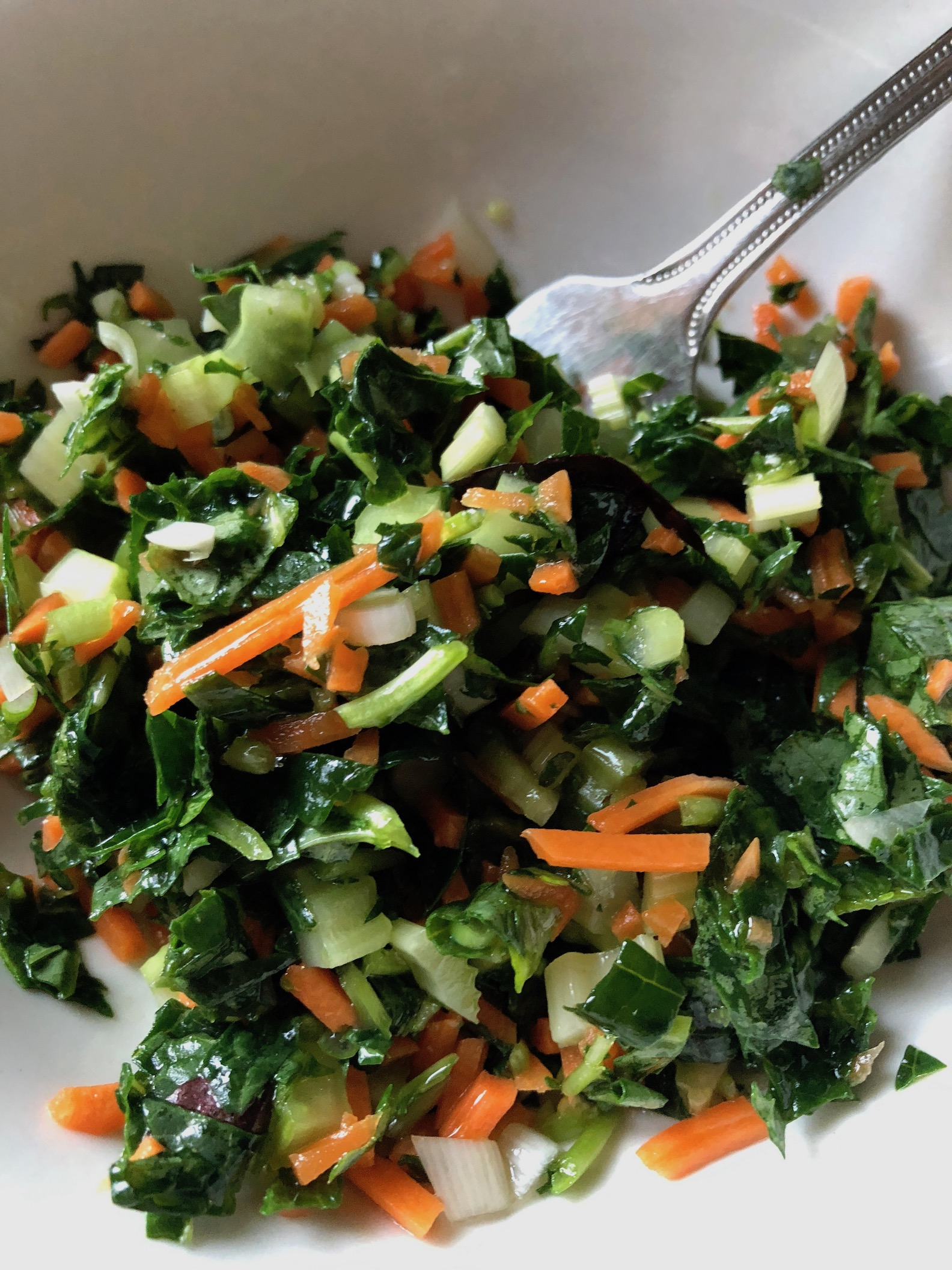 Crunchy Kale and Shredded Carrot Salad